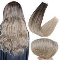 Full Shine Tape In Hair Extensions Real Human Hair 22 Inch Double Sided Tapes 2 Darkest Brown Fading To 18 And 60 Blonde Balayage Remy Hair 50 Grams Skin Weft Tape Hair 20 Pcs