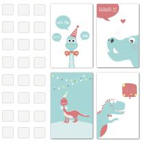 Creative Wall Art Decoration for Birthday Celebration - Blue Dinosaur Edition Perfect to Celebrate the Birthday of the Loved One, Set of 4 Sticker Posters for Any Special Occasion