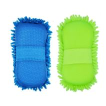 AVA Prime (2 Pack) Chenille Microfiber Premium Car Wash Mitt with Sponge,Lint Scratch Free-Ultra Soft Cleaning Mitt with Hand Strap