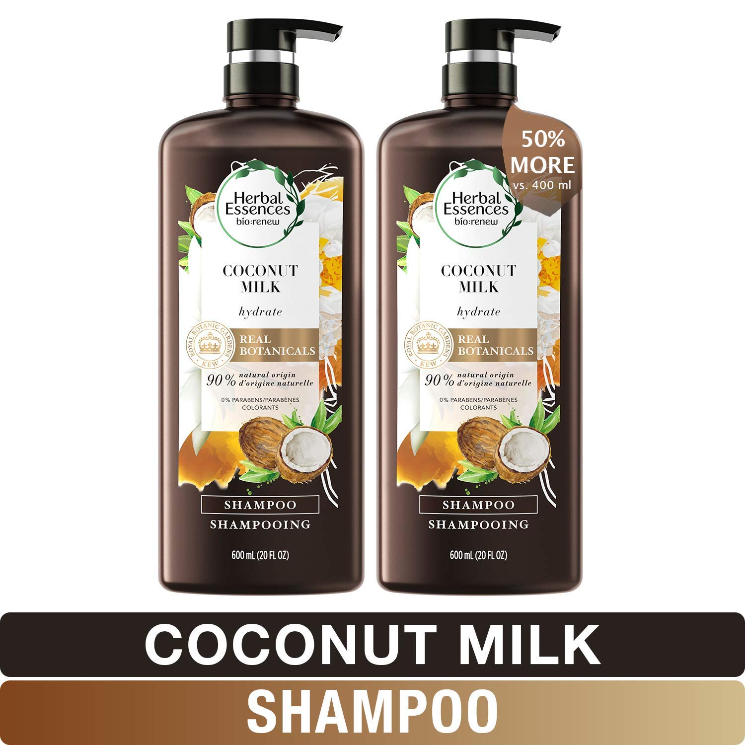 Herbal Essences, Shampoo With Natural Source Ingredients, Color Safe, BioRenew Coconut Milk, 20 fl oz, Twin Pack