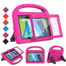 BMOUO Kids Case for RCA Voyager 7 Tablet, RCA Voyager 7 inch Tablet Case with Screen Protector, Shockproof Light Weight Stand Kids Case for RCA Voyager I II III 7 inch Tablet, Rose