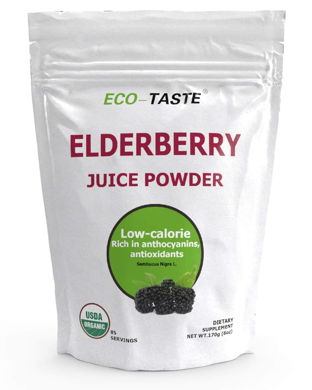 Organic Elderberry Juice Powder, Supports Healthy Immune System, Non GMO and Vegan Friendly, 170g