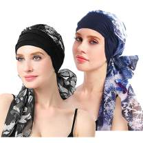 EINSKEY Women's Head Scarf 2-Pack Silky Satin Cancer Chemo Headwear Night Sleeping Headwrap