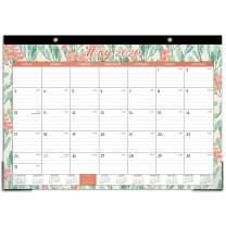 """2020-2021 Desk Calendar - 18 Months Desk/Wall Calendar, Desk/Wall Monthly Calendar Pad, 17"""" x 12"""", January 2020 - June 2021, Ruled Blocks, Watercolor Floral"""