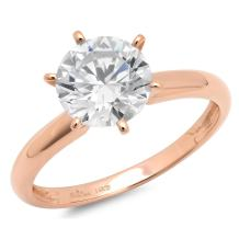 1.60 CT Brilliant Round Cut CZ Solitaire Classic Ring Band Solid 14k Rose Gold