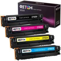 RETCH Compatible Toner Cartridge Replacement for HP 202X 202A CF500X CF501X CF502X CF503X for Color Laserjet Pro MFP M281fdw M281cdw Laserjet Pro M254dw (1 Black 1 Cyan 1 Magenta 1 Yellow)
