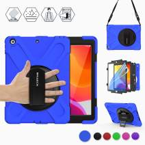 "BRAECN New iPad 7th Generation 10.2"" Case 2019 with [Stand] [Built in Screen Protector] [Handle Grip Strap] [Carrying Strap],Rugged Heavy Duty Proof Drop Cover for Apple iPad 7th Gen 10.2 Inch -Blue"