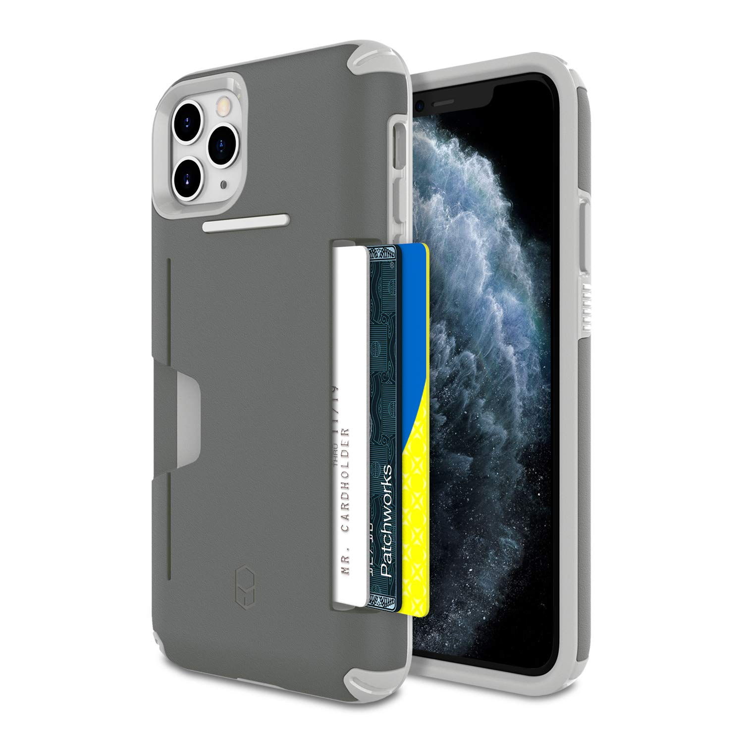 PATCHWORKS iPhone 11 Pro Max Case [Level Wallet Series] Rugged Hybrid Shockproof Dual Layer TPU + PC Case [Military Grade Drop Test Certified] [Wireless Charging Compatible], Gray