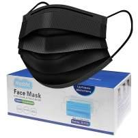 Masbhc Disposable Face Mask 3 Ply Comfortable Black Masks 50Pcs