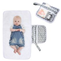 Luxja Portable Diaper Changing Pad (Non-Bulky), Baby Changing Pad with Pockets, Diaper Changing Clutch for Home or Travel Use, Foldable and Machine Washable, Gray Arrows