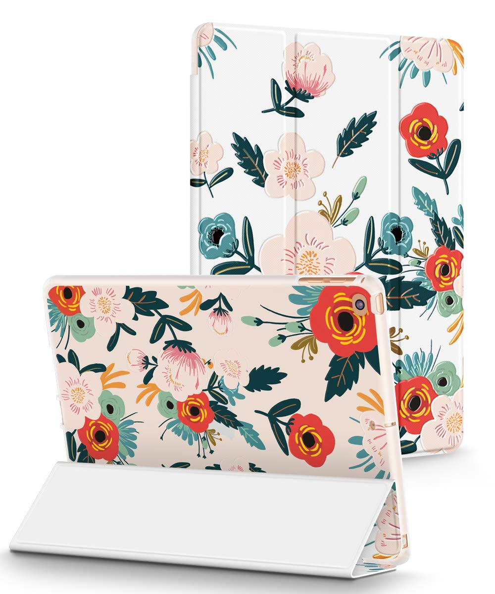 GVIEWIN Designed for iPad 9.7 Case 2018/2017, Slim iPad Cover with 3D Printing Pattern Magnetic Auto Sleep/Wake for iPad 5th/6th Generation (Flowering/Red)