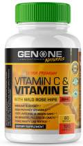 Vitamin C & Vitamin E with Wild Rose Hips 1000mg - High Potency Immune Support - 100% Natural, Vegan Safe, Non GMO, Antioxidant Support - 120 Capsules
