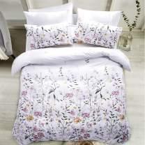 Carisder Floral Duvet Cover Set Kids Soft White Comforter Cover Set 2 Pieces Bedding Sets (Floral Twin)