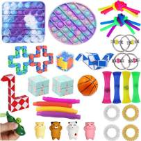 28 Pcs Fidget Toys Pack, Sensory Fidget Toys Cheap, Fidget Toy Set Fidget Packs Fidget Box, Fidget Pack with Stress Ball Marble Mesh, Gifts for Kids&Adults with Autism (35 Pcs Fidget Pack)