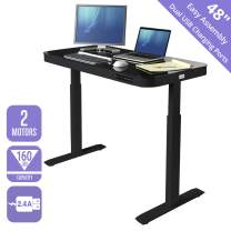 """Seville Classics Airlift Tempered Glass Electric Standing Desk with Drawer, 2.4A USB Ports, 3 Memory Buttons (Max. Height 47"""") Dual Motors, Black Top"""