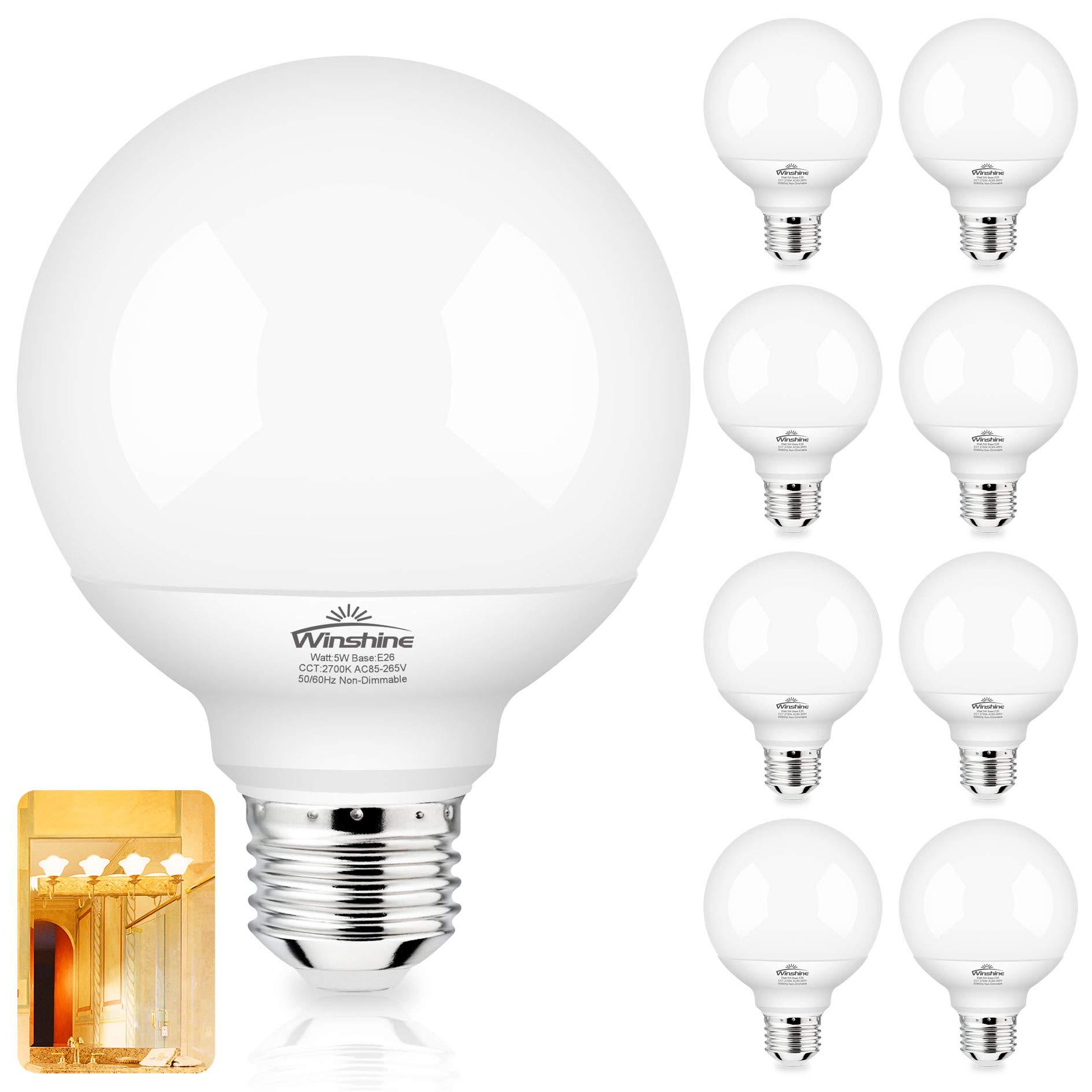 G25 LED Bulb Globe Shape E26 Medium Screw Base, 5W 60W Equivalent 8 Pack LED Vanity Light 2700K Warm White Idear for Bathroom Vanity Makeup Mirror, Winshine Bedroom Lights ,500LM, Non-dimmable