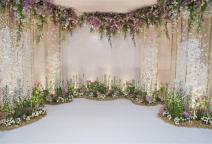 AOFOTO 7x5ft Arch for Wedding Ceremony Backdrop Interior Romantic Flower Canopy Archway Banner Photography Background Bride Girlfriend Lovers Fiancee Nuptial Decoration Studio Props Vinyl Wallpaper