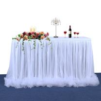 Haperlare 9ft Tablecloth White Tulle Table Skirt White Tablecloth Skirting Tutu Tablecloth with Long Tulle for Wedding Party Baby Shower Christmas Birthday Banquet Table Decorations