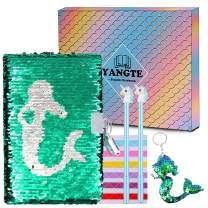 Sequin Notebook Girls Secret Diary Journal and Pens Writing Stationery Set,Lockable Notepad with Sequin Keychain Birthday Christmas Gift for Girls Kids (Mermaid)