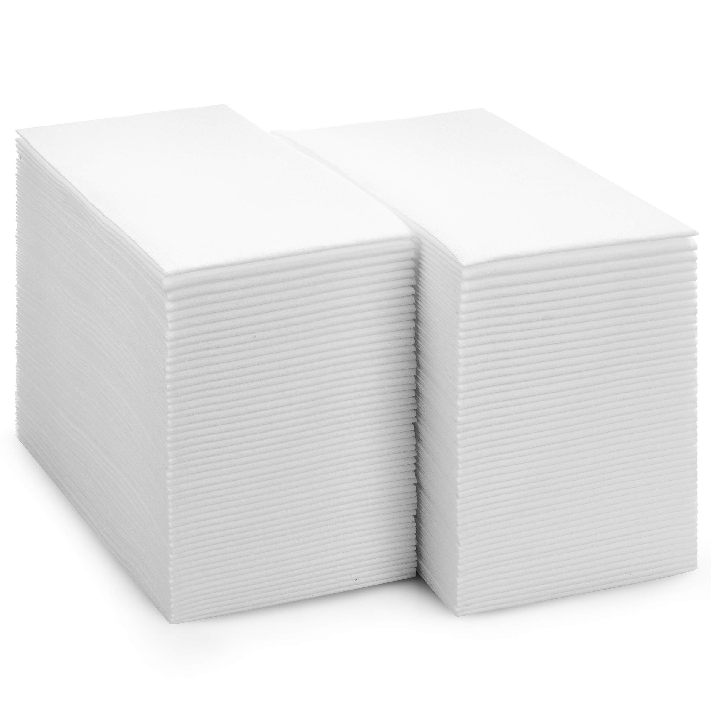 BloominGoods Disposable Bathroom Napkins | Linen-Feel Guest Towels | Cloth-Like Hand Tissue Paper, White (Pack of 100)