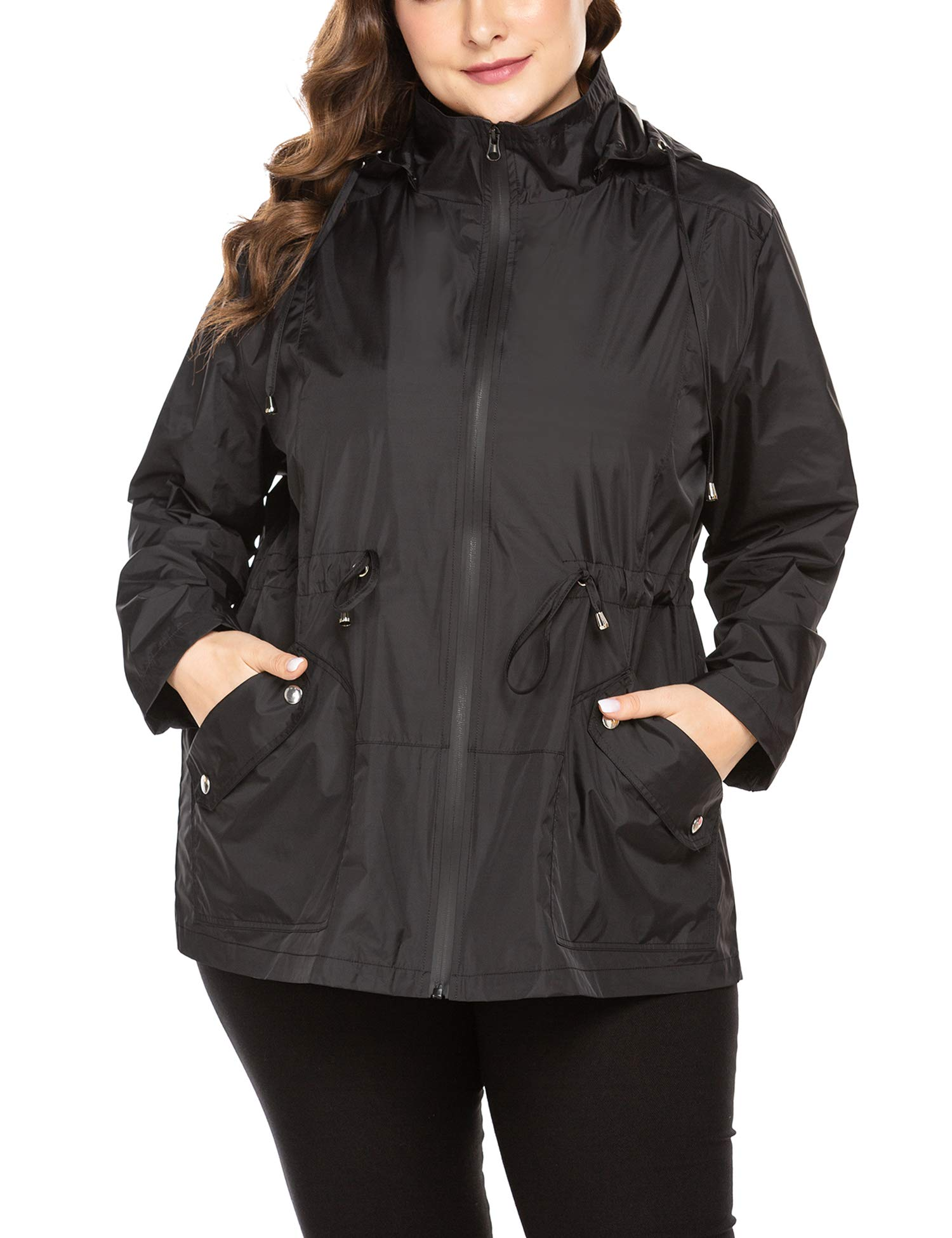 IN'VOLAND Women's Plus Size Rain Jacket Waterproof Hooded Windbreaker with Drawstring