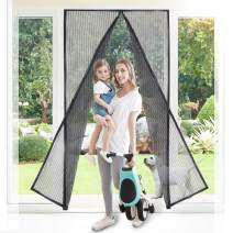 Buzio Magnetic Screen Door, Upgraded with Heavy Duty Fine Woven Mesh, 32 Strong Magnets on The Seam, Full Frame Hook & Loop, Fits Door Size Up to 82 x 39 inches, Black