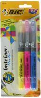 BIC Brite Liner Flex Tip Highlighter, Assorted Colors, 3-Count