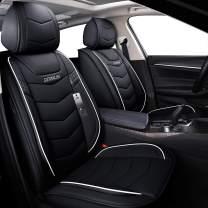 BLUEWALDON Leather Car Seat Cover Full Set,Universal fit Car Set Cover Set,Covers for Car Seats Durable Use for All Seasons(Full Set,Black and Beige) (Black, Full Set)