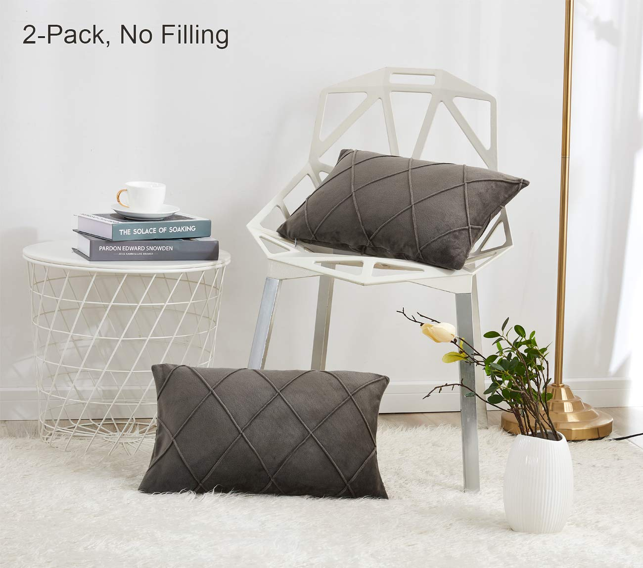 """PHF Velvet Throw Pillow Covers Pack of 2 Rectangle Lumbar Pinch Pleated Pintuck Soft Soild Decoration Cushion Case for Sofa Bedroom Car 12""""X20"""" Charcoal"""
