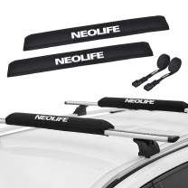 Neolife Soft Roof Rack Pads with Two 15 Ft Tie Down Straps for Surfboard, SUP Paddleboard, Snowboard, 19/28inch (Pair)