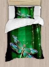 Ambesonne Dragonfly Duvet Cover Set, Vivids in Gemstone Crystal Diamond Shapes Graphic Effects, Decorative 2 Piece Bedding Set with 1 Pillow Sham, Twin Size, Hunter Green
