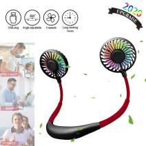 FAYLISVOW Portable Neck Fan 3-Speed Hand-Free Mini USB Rechargeable Battery Operated Hanging Personal Wearable Neckband Fan, 360°Free Rotation, 7 Colors of LED Light, 2 Aromatherapy Boxs (Black)