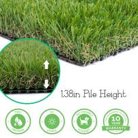 Realistic Thick Artificial Grass Turf -Indoor Outdoor Garden Lawn Landscape Synthetic Grass Mat - Thick Fake Grass Rug (9FTX12FT(108 Square FT))