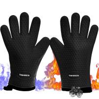 No.1 Set of Silicone Smoker Oven Gloves - Extreme Heat Resistant Washable Mitts for Safe Cooking Baking & Frying at The Kitchen,BBQ Pit & Grill. Superior Value Set + 3 Bonuses (Black)