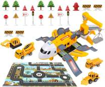 HAPISIMI Construction Truck Set with Transport Airplane and Play Matt, Baby Toys Set with 4 Construction Educational Vehicles, Kids Large Theme Airplane with Sound and Colorful Lights,