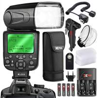 XPIX High Power Auto-Focus Digital SLR Flash W/LCD for Canon DSLR Cameras + Rechargeable AA Batteries with Quick Travel Charger, Handheld Tripod, Universal Remote & Deluxe Accessory Bundle