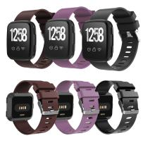 WISHTA 3PCS Replacement Watch Bands Compatible with Fitbit Versa, Soft Resin Small& Large Sport Strap with Metal Buckle Compatible with Fitbit Versa