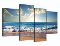 Yatsen Bridge Modern Landscape Painting on Canvas 4 Piece Beach Ocean Pictures Wall Art for Living Room Home Decor Wooden Framed Stretched Ready to Hang (48''W x 36''H)