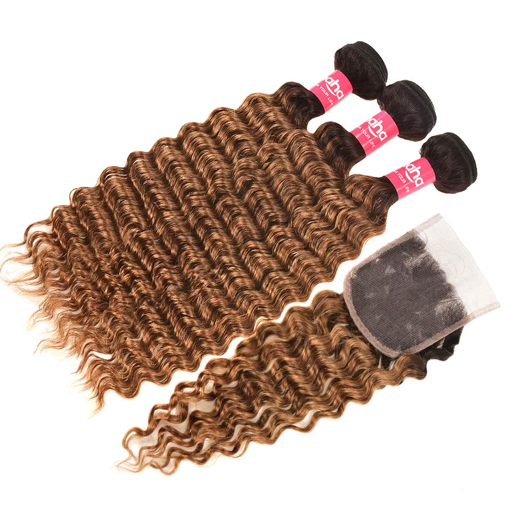 Haha Ombre Bundles with Closure Ombre Brazilian Deep Wave Curly Hair 3 Bundles with Closure 2 Tone Black to Brown Virgin Human Hair Weave Bundles with Lace Closure T1B/30, 10 10 10+10