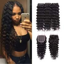 Beauhair Brazilian Deep Wave Virgin Hair 8A 3 Bundles with Free Part Closure (14 16 18 with 12 Closure) 100% Unprocessed Brazilian Deep Curly Natural Black