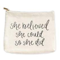 She Believed She Could So She Did Cotton Canvas Makeup Bag | Inspirational Motivational Gift for Her Makeup Organizer Girl Power Make Up Bag Canvas Bag Toiletry Bag Cosmetic Bag Travel Accessories