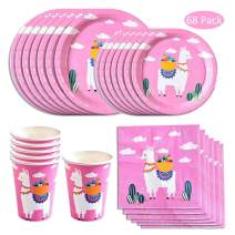 Amycute 68 PCS Alpaca Disposable Tableware Set, Pink Llama Plates, Cups, Napkins, Cutlery Serves 16 for Wedding Birthday Party Supplies Decorations