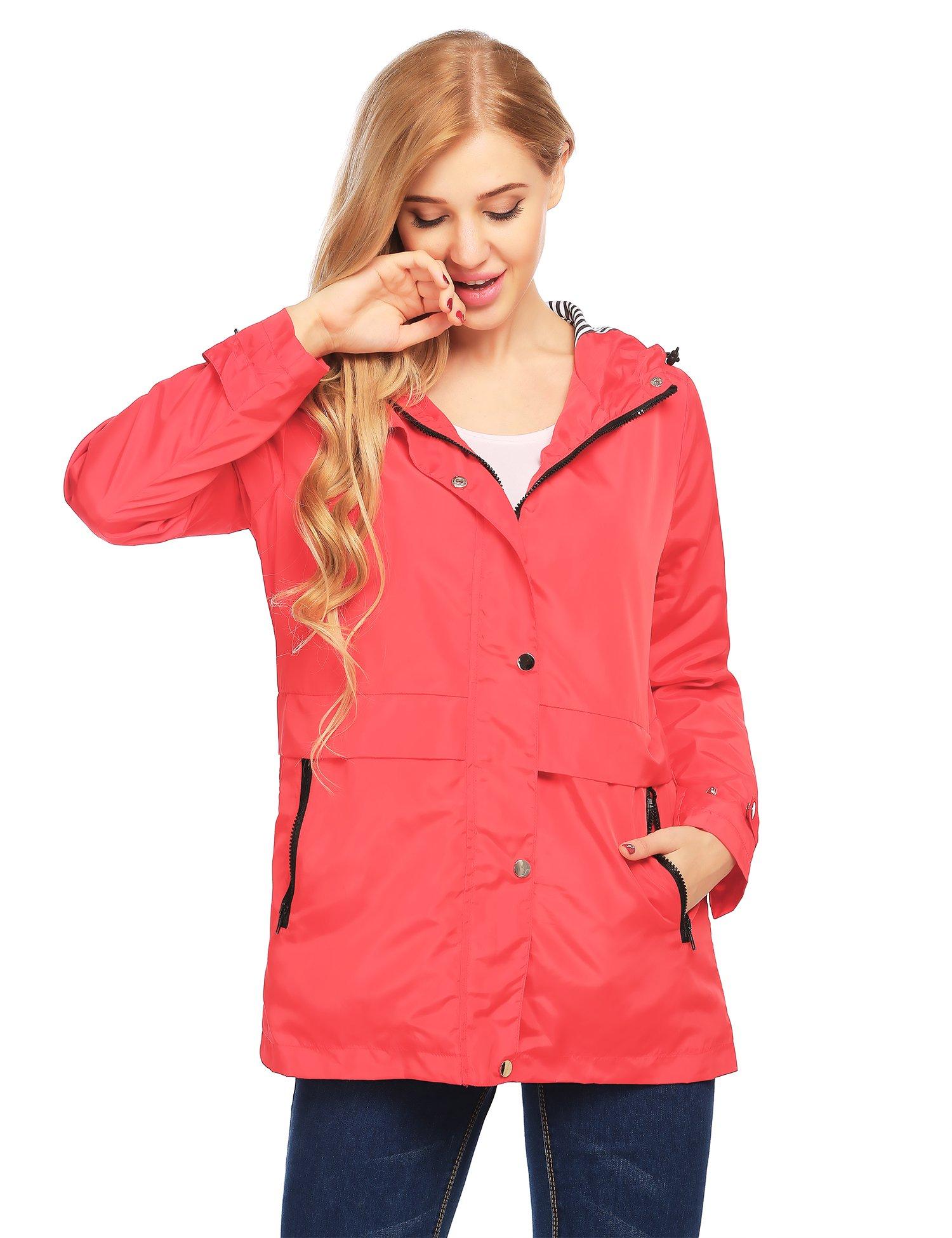 Finejo Womens Long Sleeve Winter Windbreaker Coat Zip up Anorak Jacket with Hood