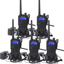 Retevis RT5 Two Way Radios 128 CH VHF/UHF 2 Way Radios Hand Free Scan FM Walkie Takies 5 Pack with earpiece