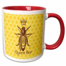 """3dRose 219442_5""""Stately Queen Bee With Royal Crown Honeycomb Ceramic Mug, 11 oz, Red/Yellow"""