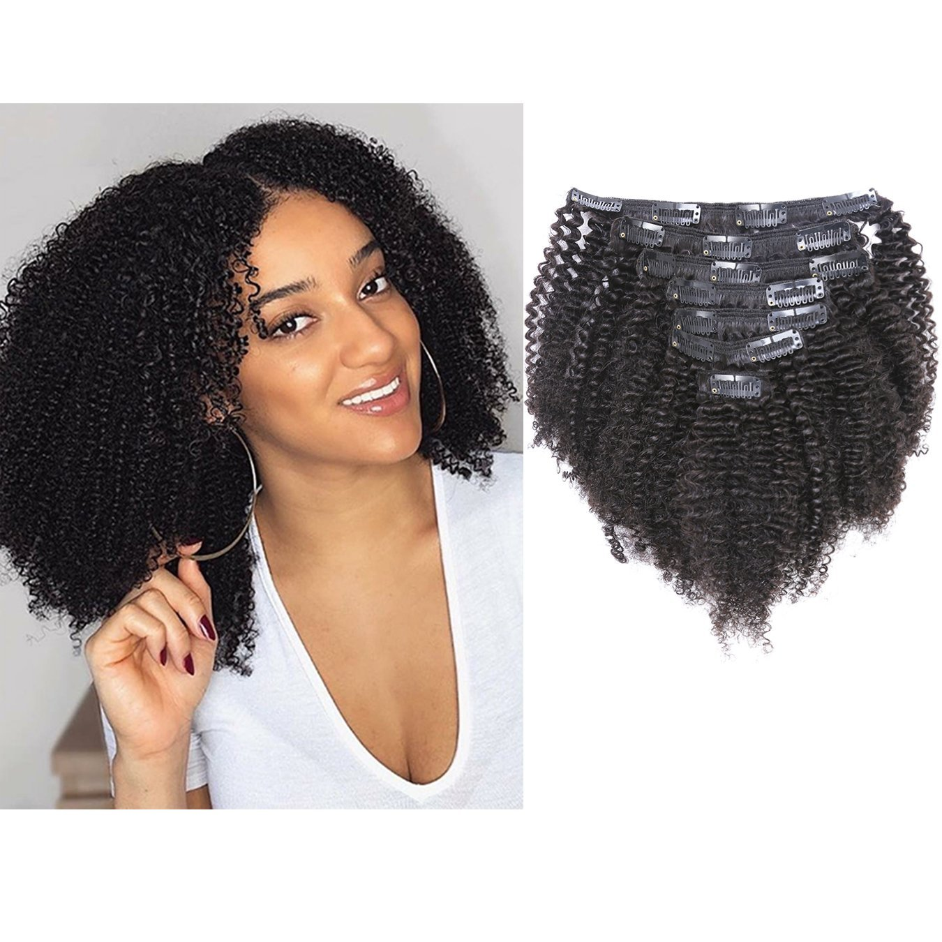 Anrosa Thick Human Hair Extensions Kinkys Curly Clip ins Natural Black Hair Color 1B Afro Kinky Curly Clip in Hair Extensions Real Virgin Remy Hair 14 Inch 120 Gram 3C 4A Type for Black Women