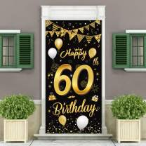DUAIAI Happy 60th Birthday Party Decorative Door Cover Banner,Large Fabric Black and Gold Glitter Sign Birthday Photo Booth Backdrop Background Banner for 60 Birthday Party Decorations and Supplies