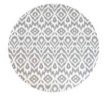 Baby Play Mat | One-Piece Reversible Foam Floor Mat | Large | Eco-Friendly | Extra Soft | Non-Toxic | Baby | Toddlers | Kids (Grey Ikat + Stripe, Round)