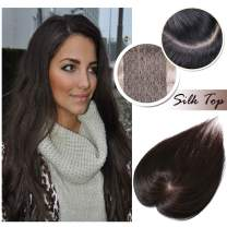 Human Hair Toppers for Women With Thinning Hair Clip in Top Hair Piece Silk Base Top Hairpiece 100% Density Hand-made Crown Hair Extensions for Gray Hair Hair Loss 12inch Dark Brown #2