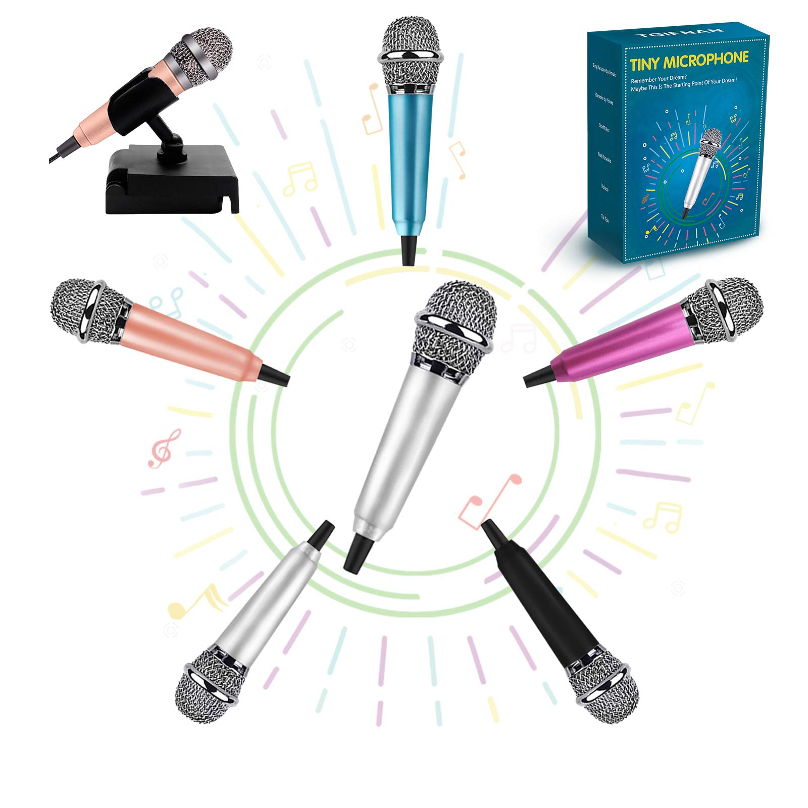 Mini Microphone Karaoke Microphone Tiny Microphone,Mini Microphone for Singing, Recording and Listening to Songs,Mic for iPhone/Android/PC (Silver)